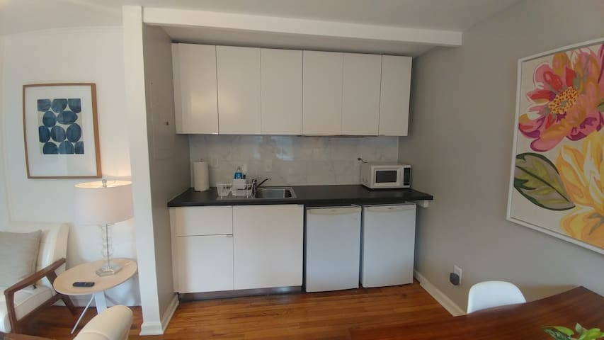Efficiency Kitchen, includes Kureg coffee maker (not pictured), microwave, mini fridge and freezer, plates, utensils, wine glasses, bottle opener, and basics