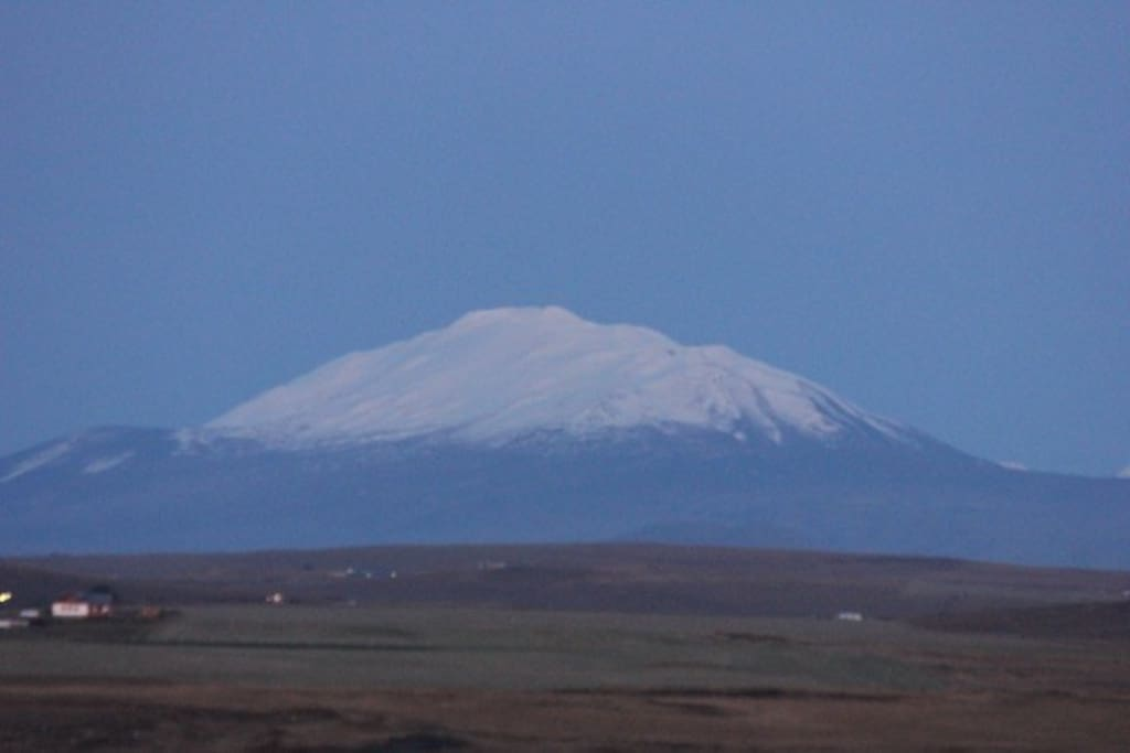 The view to Hekla the Queen of Icelandic volcano