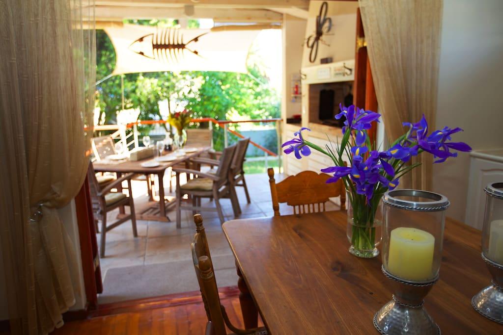 Dining area opening to braai