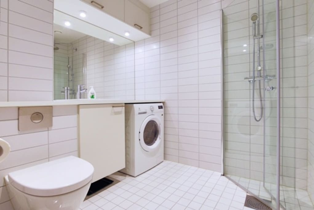 Delicate bathroom with combined washing/tumble dry machine