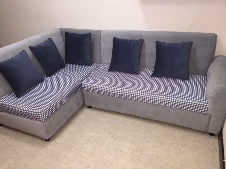 L shape sofa in the living room