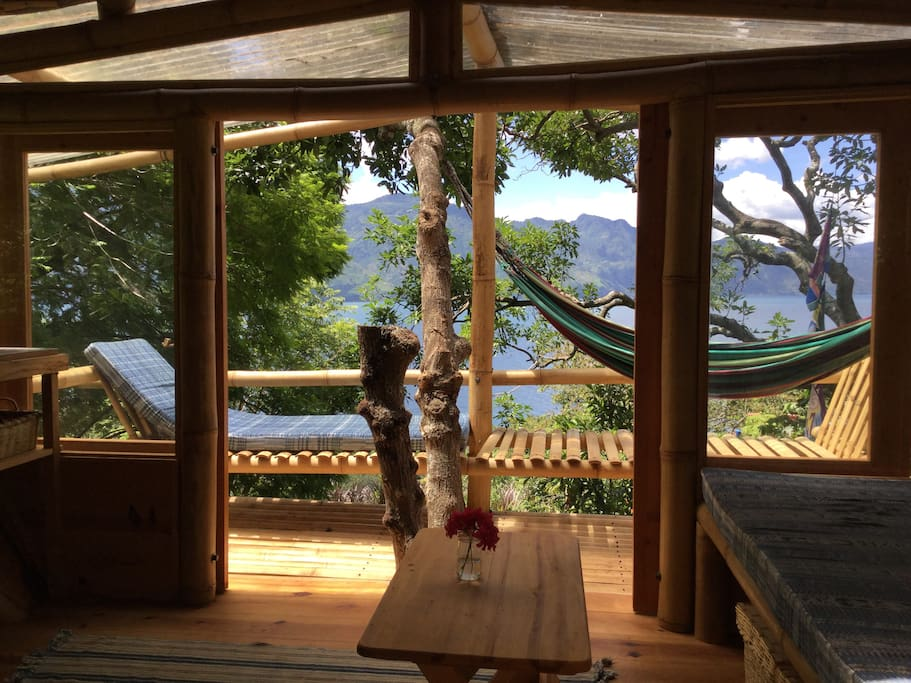 The balcony and view from The Treehouse at Casa Motmot.