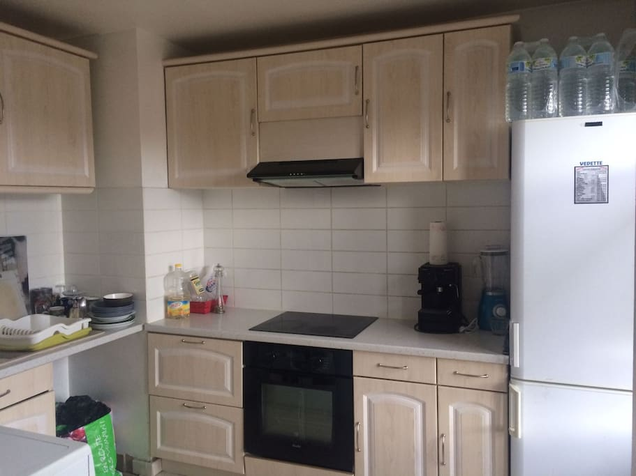 fully equipped kitchen with electric ceramic cooking plate, fridge and freezer, washing machine, stove, coffee machine, blender