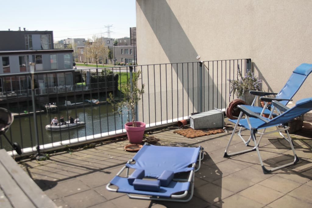 24m2 sunny balcony, with a beautiful view of Ijburg.