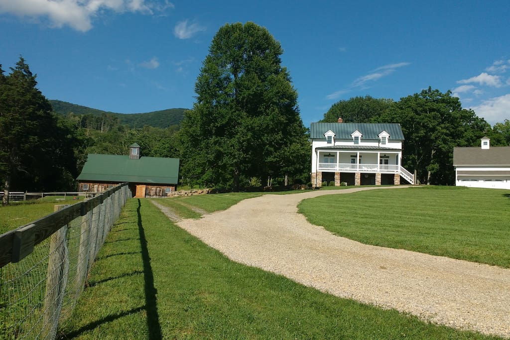 A view of the barn and main residence.  The Carriage House, where guests stay, is just off to the right.