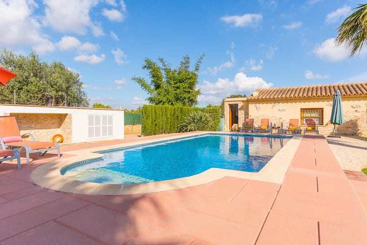 """Charming Villa """"Finca Santa Eulalia Petit"""" with Porch, Pool, Air-Conditioning & Wi-Fi; Parking Available"""