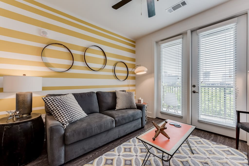 Our apartment has been designed by local Nashville arts for a true local feel.