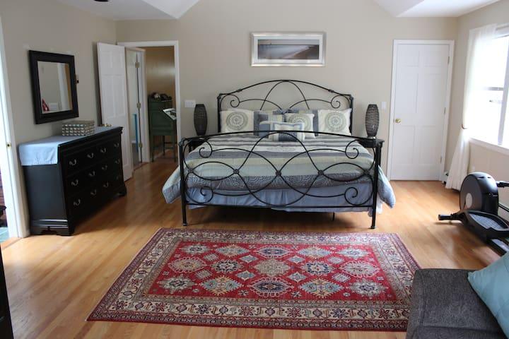 Master bedroom with queen sofa bed & elliptical