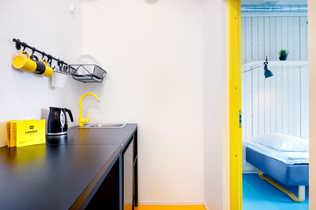 In the 4-room apartment, a small kitchenette with essentials is available.