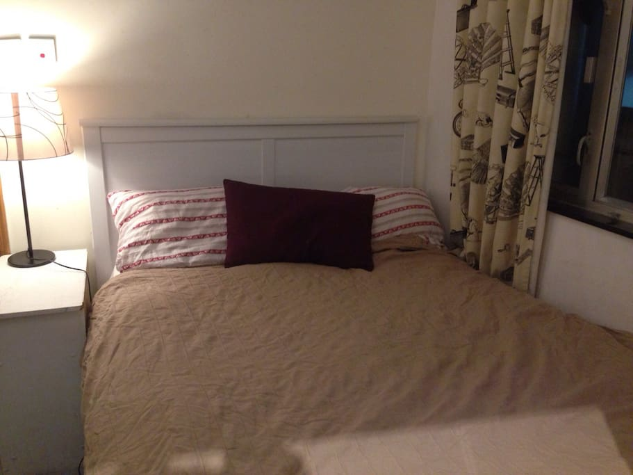 NEW IKEA Queen Size Bed with Tablelight, Nightstand and matching home-made Curtins for nice Dreams!