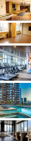 Available amenities (Rooftop, gym, yoga room, open space)