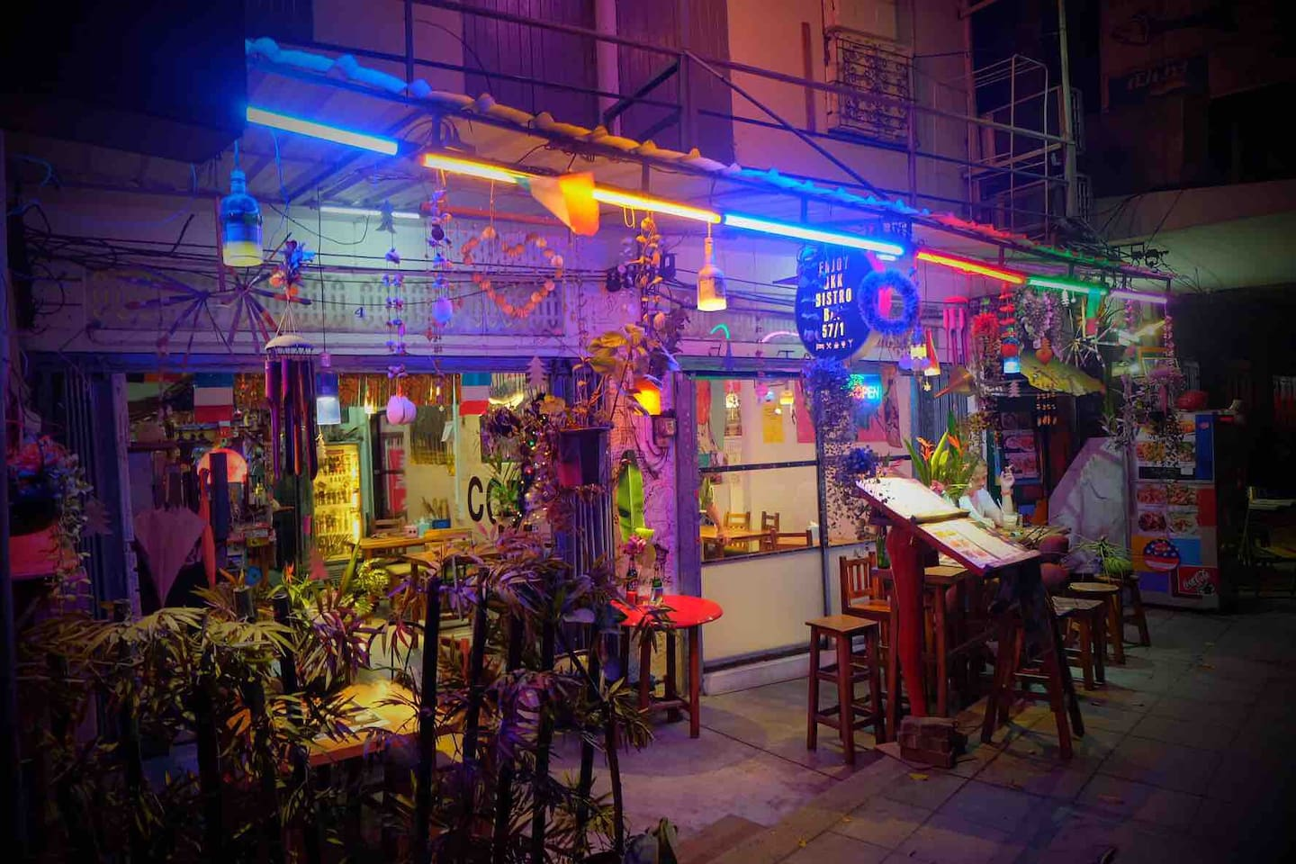 Enjoy Bkk Bistro Bar via tripadvisor.Night life vibes.We are a Thai country kitchen cooking up N.E. Thai/Lao fusion cuisine.Each dish is made to order vegan & or vegetarian.Spicy or not let us know.Work space for you to hang out & enjoy.150+ beers.