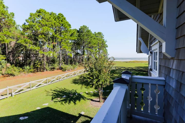 "Balcony view of yard, field + beach/ocean ""Image by photosbyrb.com"""