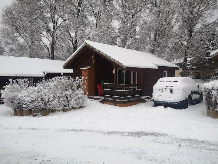 Chalet, nature, neige, pieds des pistes, détente