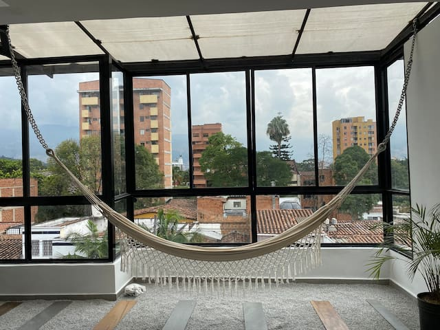 Hammock in the living room is the perfect place to relax.