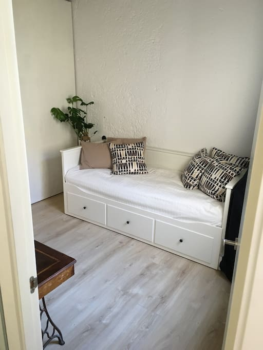 Second bedroom for one or two persons. The white sofa converts easily into a double bed with a with of 160 cm.