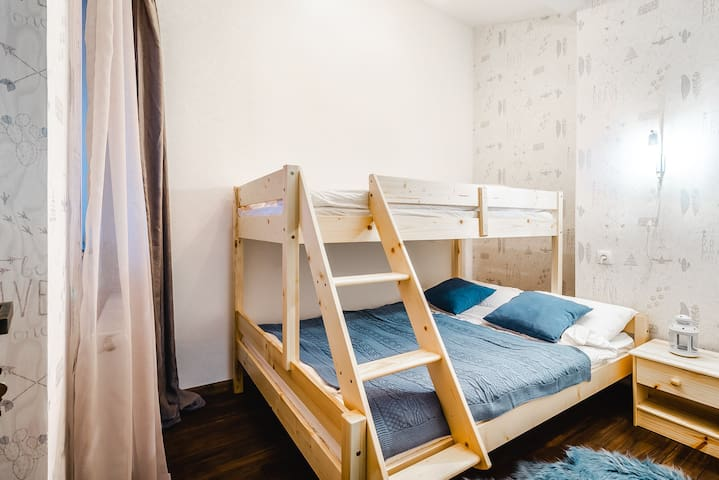 Bedroom 3  located on 2nd floor. There are bunk bed (140X200 cm and 90), one bed side table, one small drawer located in this room. The size of the bedroom is 6.8 square meter  is more convenient for children.