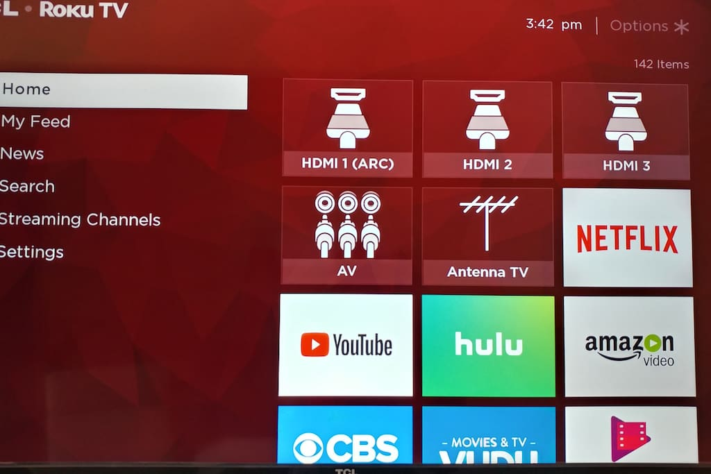 This is a 55'  Smart TV with Roku.  This room has International Cable Channels