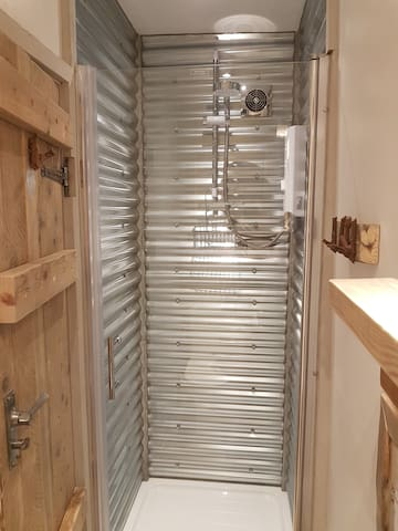 yes its a corrugated tin shower!