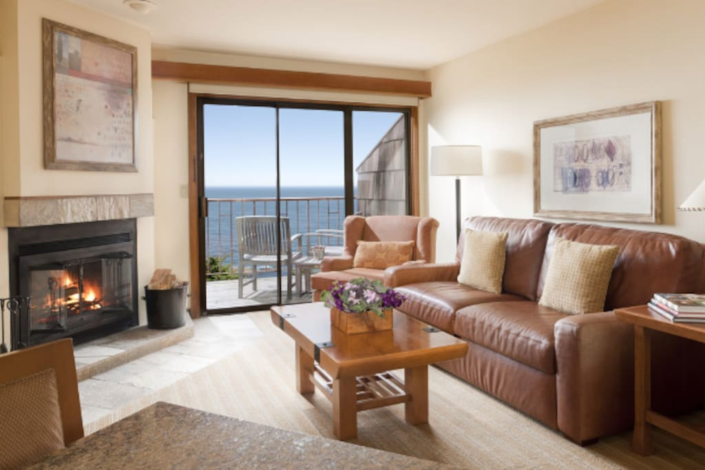 Typical living room with balcony - Our corner unit has views to Point Lobos.