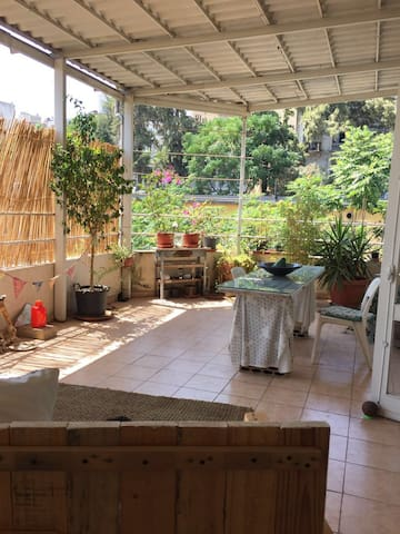 Large single room with shared terrace & cat - Bejrut - Apartament