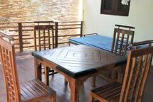 table at wooden terrace