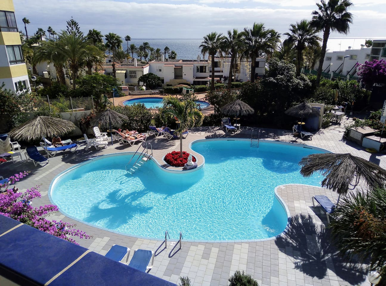 Pool and ocean view from the balcony