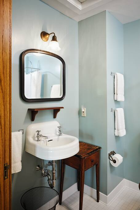 Walnut room's private bathroom. Clean and inviting.