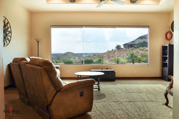 Living Room With Beautiful Golf Course View of The 4th Hole and 74th Par