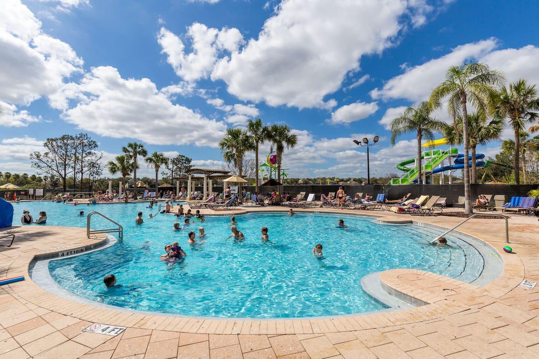 Resort pool with water slides