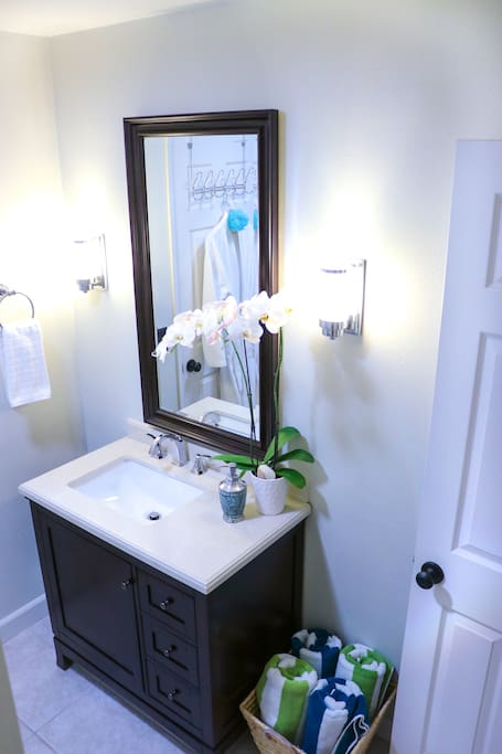 Recently renovated private guest bathroom