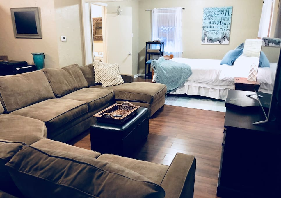 Living room which includes extremely cozy couch & full size pull out bed.