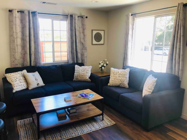Living room with large couch and love seat.