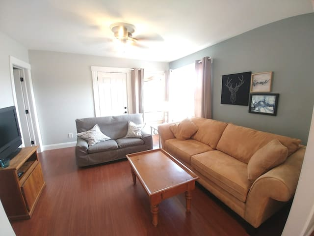 Spacious living room with very comfy couch, loveseat, television, and lots of natural light from two large windows.