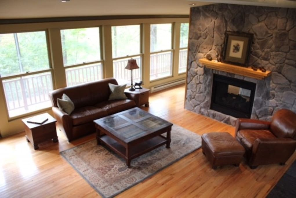 Two way gas fireplace in living room.