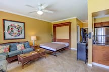 Murphy bed in the living area