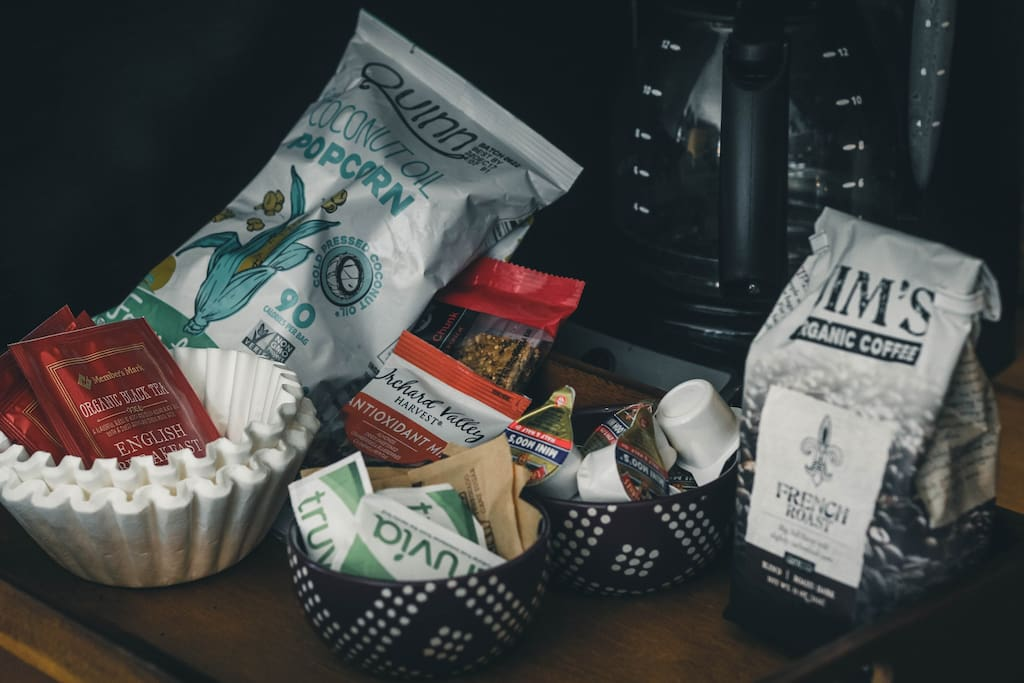 Fight your travel induced hunger with free snacks, coffee, and tea