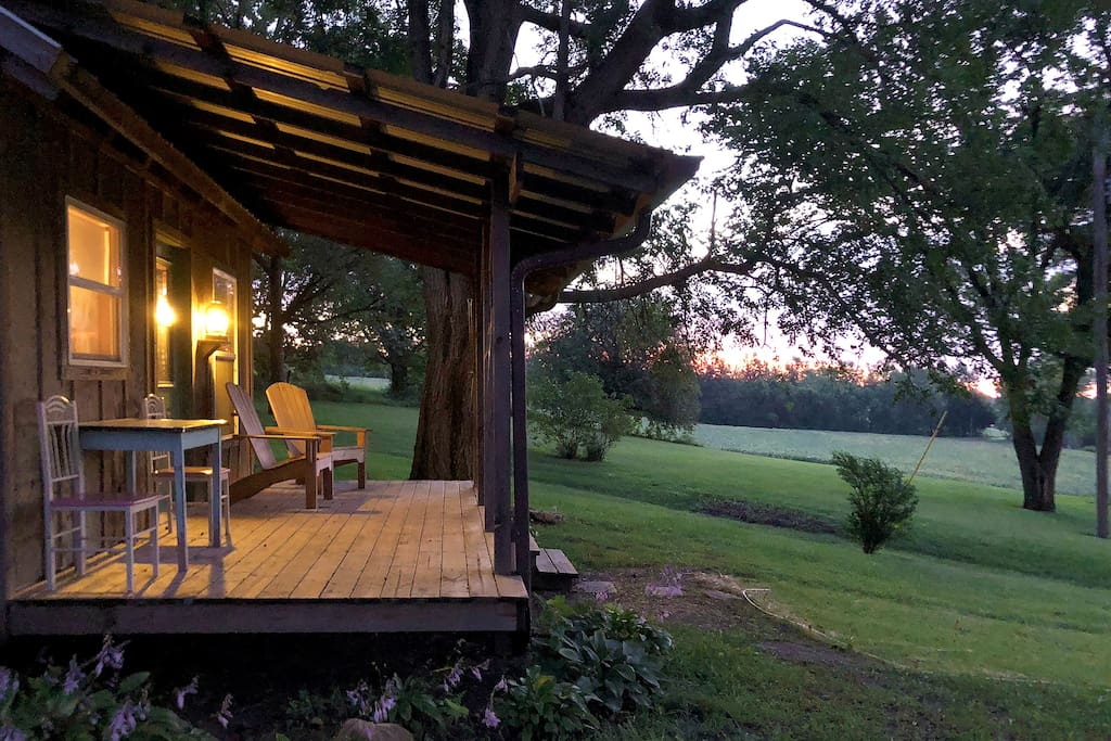 Front porch at twilight.