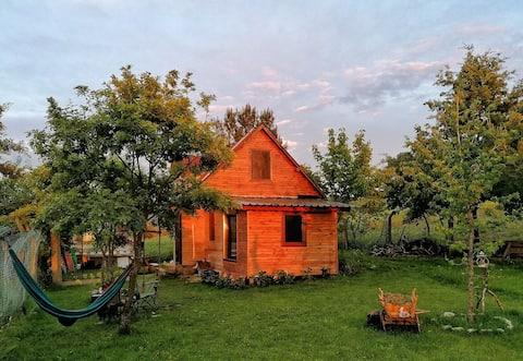 Ahşap dağ evi/çadır alanı/bahçe/koru