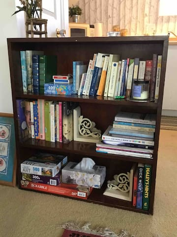 Books, cards, games, puzzles.