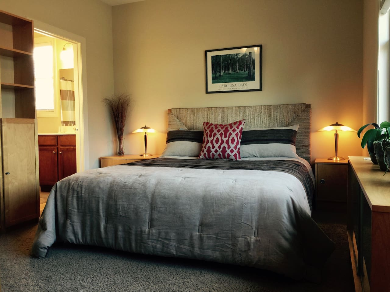 Your private bedroom with luxurious Queen bed and private bathroom with walk-in shower.