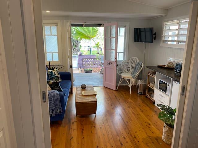 Open plan space or close off bedroom with retractable doors