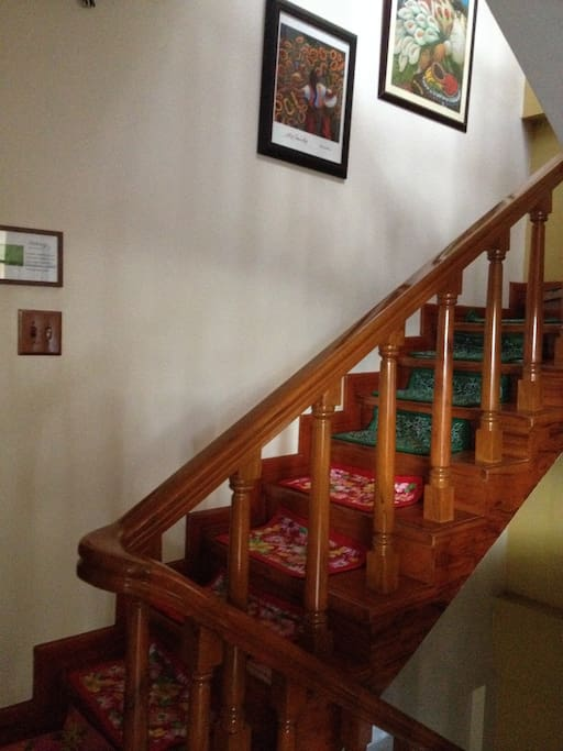 Wooden narra wood staircase designed by local artisans