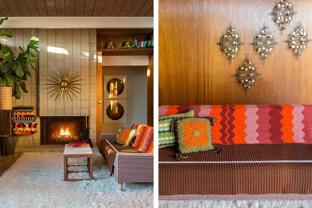 Kick back with a glass of California wine in the living room at Eichler by Troy