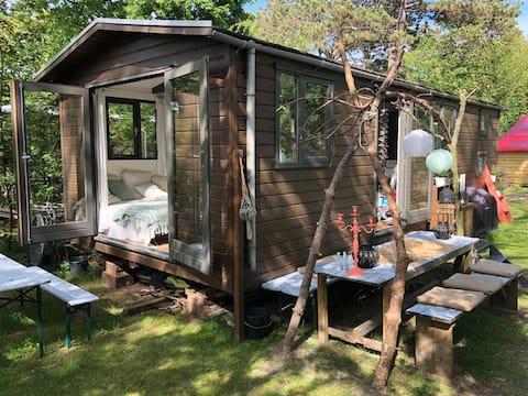 Chalet camping Bakkum! 1,5 km van het strand.