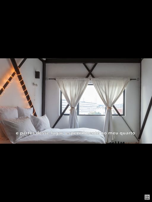 The bedroom is completed by the view