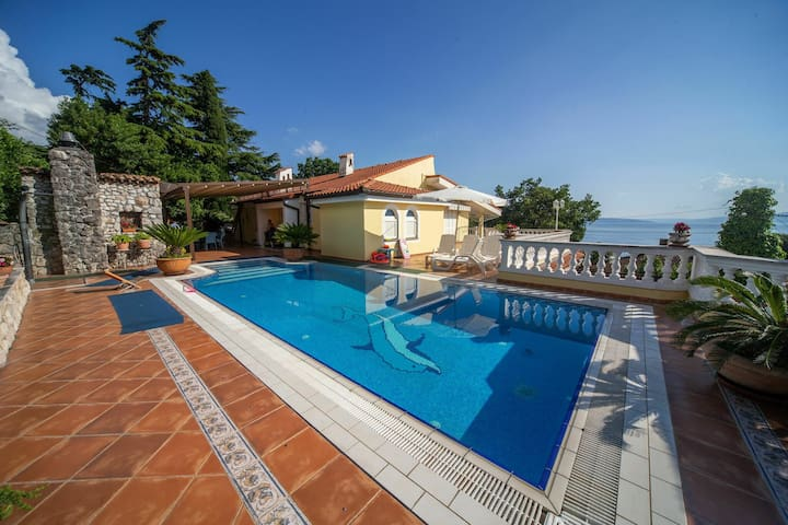 Spacious apartment with pool, great sea view from terrace with lovely garden