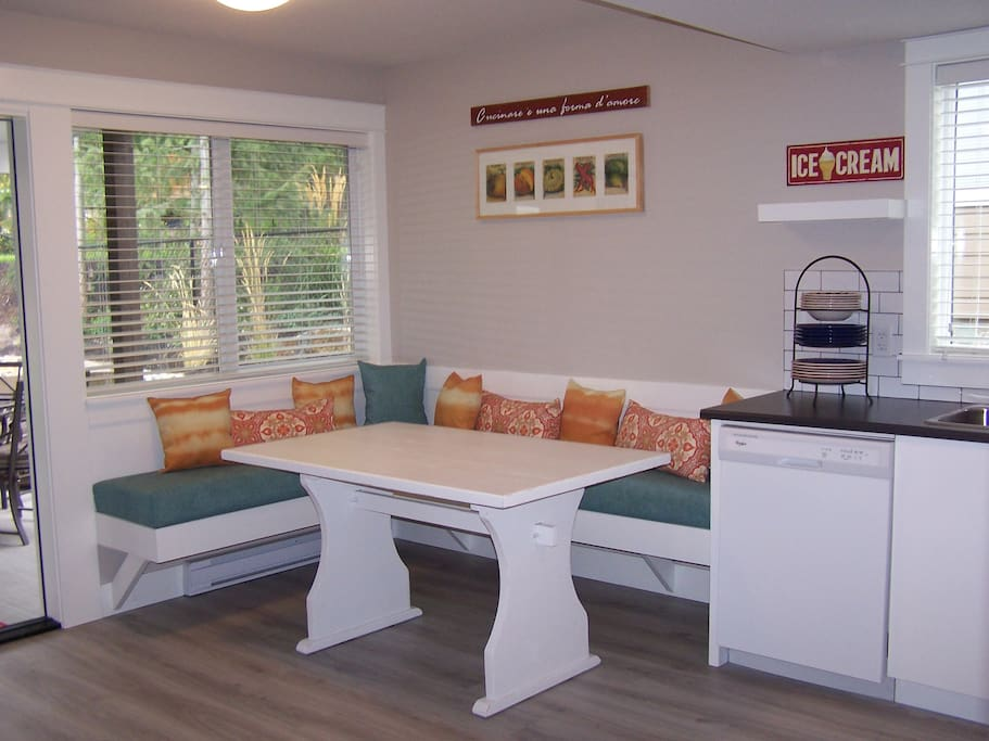 Large banquette that seats 6 or more comfortably