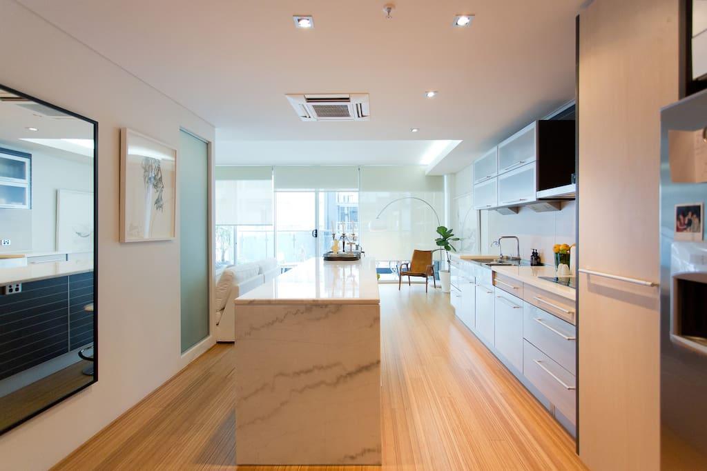 Carerra marble kitchen.