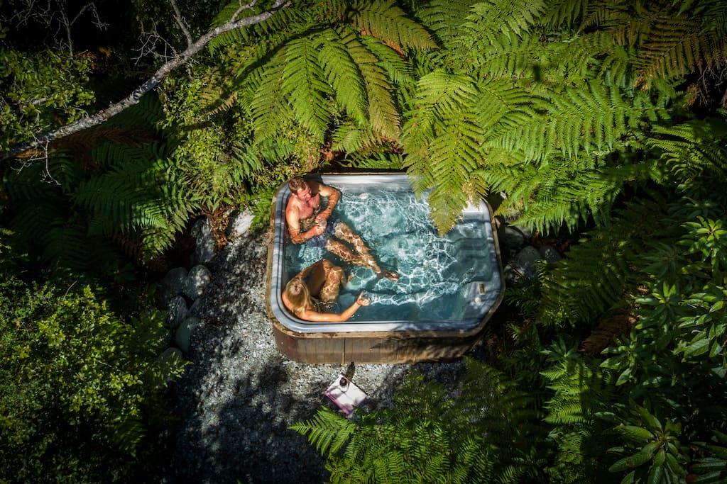 Private spa nestled amongst beautiful native bush.